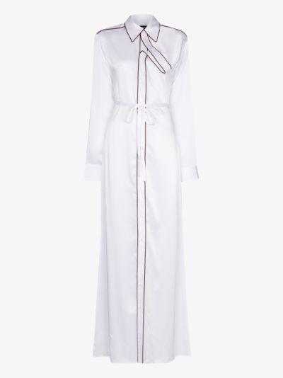 asymmetric collar maxi shirt dress