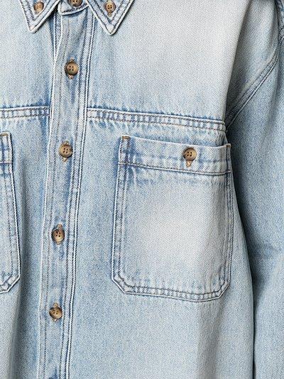 asymmetric gathered detail denim shirt