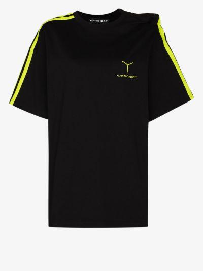 clipped shoulder cotton T-shirt
