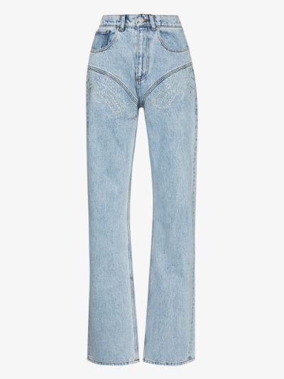 crystal embellished high-rise jeans