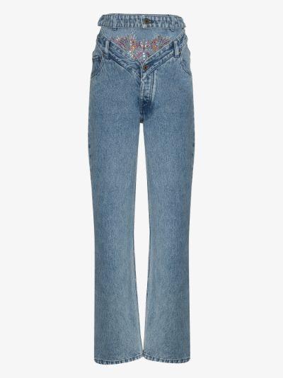 double waist crystal jeans