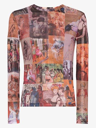 Painting print mesh T-shirt