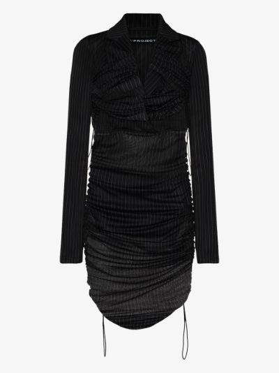 ruched pinstripe blazer dress