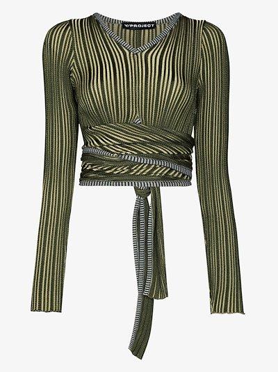 V-neck striped wrap crop top