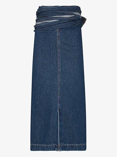 wrap waist denim midi skirt
