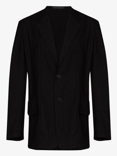 piped seam single-breasted blazer
