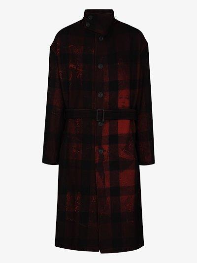 Uchida Suzume Kanji print checked coat