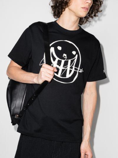 X New Era smile print T-shirt