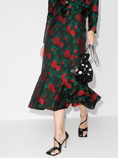 Wen rose jacquard midi skirt