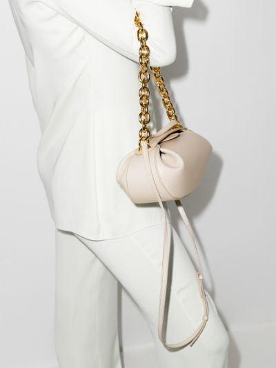 neutral Baton chain leather shoulder bag