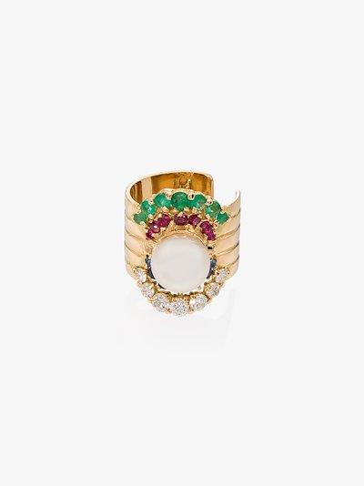 18K gold diamond pearl single ear cuff