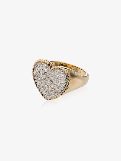 18K gold heart pavé diamond signet ring