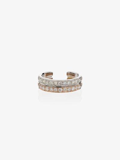 18K white and rose gold diamond ear cuff