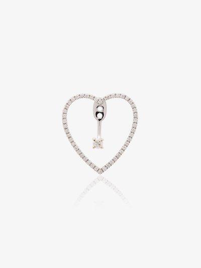 18K white gold heart diamond earring