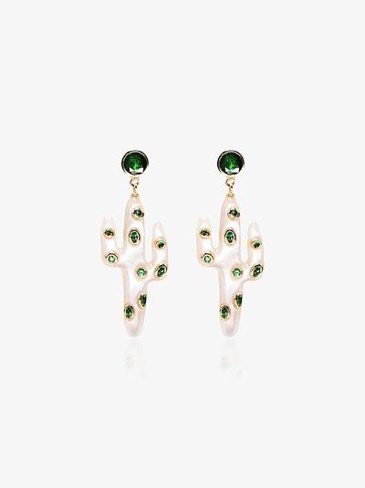 18K yellow gold cactus pearl and tsavorite earrings
