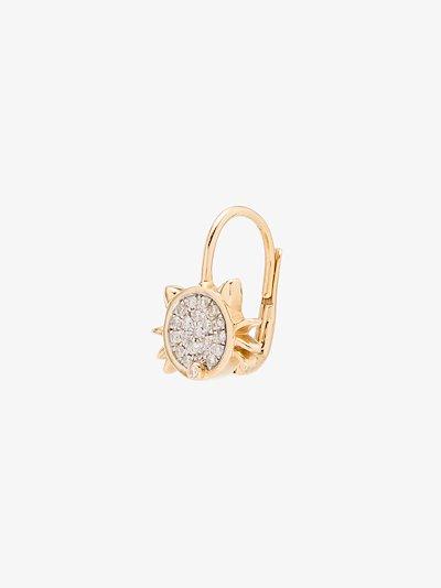 18K yellow gold cat diamond earring