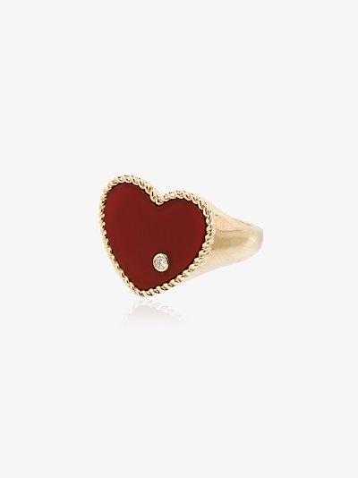 18K yellow gold diamond heart ring