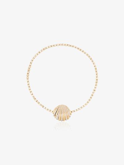 18K yellow gold diamond shell bracelet