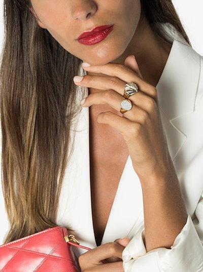 18K yellow gold diamond signet ring