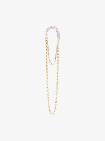18K yellow gold double chain diamond earring