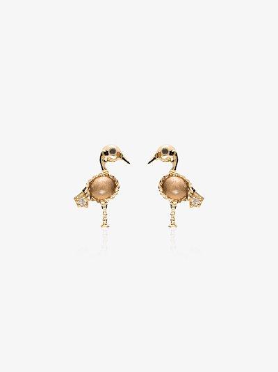 18K yellow gold flamingo diamond earrings