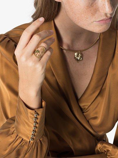18K yellow gold Island sapphire diamond ring