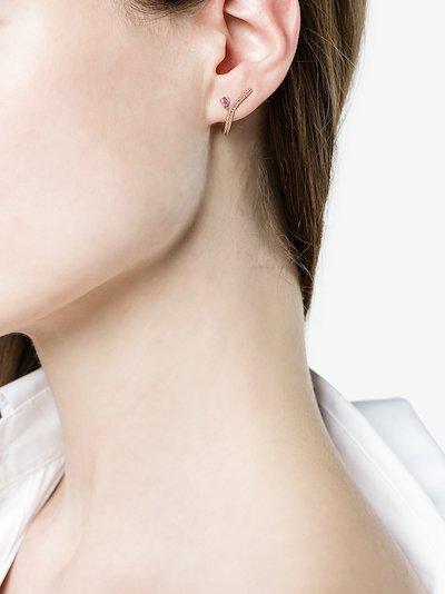 18K yellow gold ligne amethyst earring
