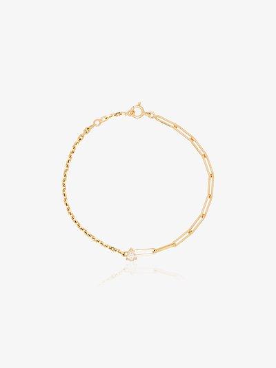 18K yellow gold mixed chain diamond bracelet