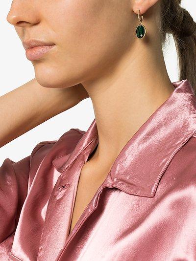 18K yellow gold oval malachite and diamond hoop earring