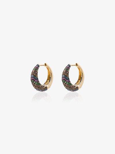 18K yellow gold sapphire hoop earrings