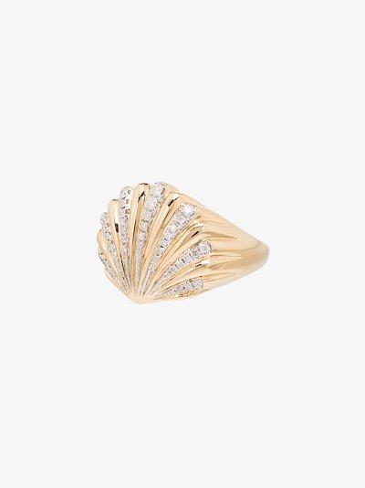 18K yellow gold shell diamond ring
