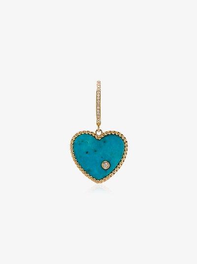 18K yellow gold turquoise and diamond heart hoop earring