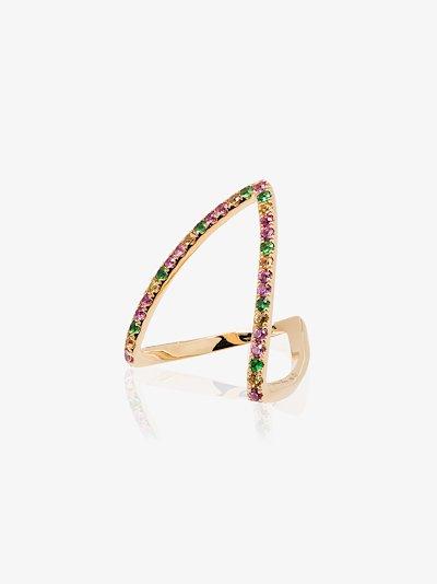18K yellow gold Viviane sapphire and tsavorite ring