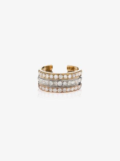 18K yellow, white and rose gold diamond ear cuff