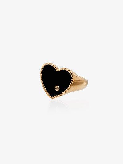 9K yellow gold heart diamond signet ring
