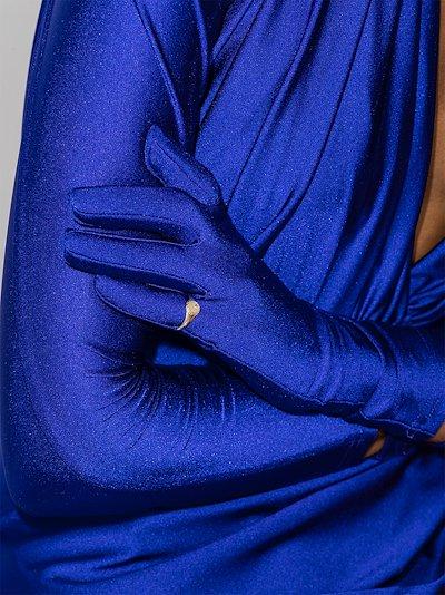 9K yellow gold mini oval diamond signet ring