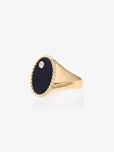 9K yellow gold onyx and diamond signet ring