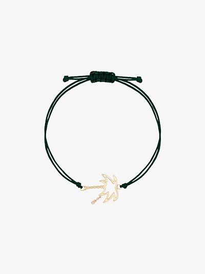 9K yellow gold palm tree diamond bracelet