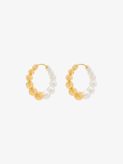 9K yellow gold pearl hoop earrings