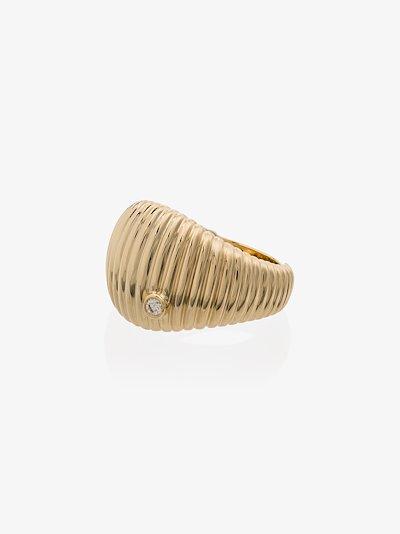 9K yellow gold ridged diamond ring