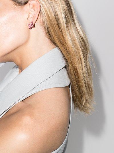 9K yellow gold striped enamel diamond earrings