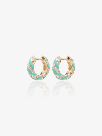 9K yellow gold striped enamel diamond hoop earrings