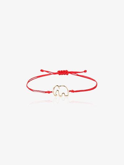 Red 9K Yellow Gold Elephant Bracelet