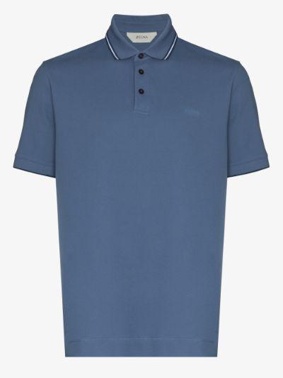tipped cotton polo shirt