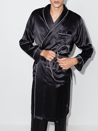 tied waist silk robe