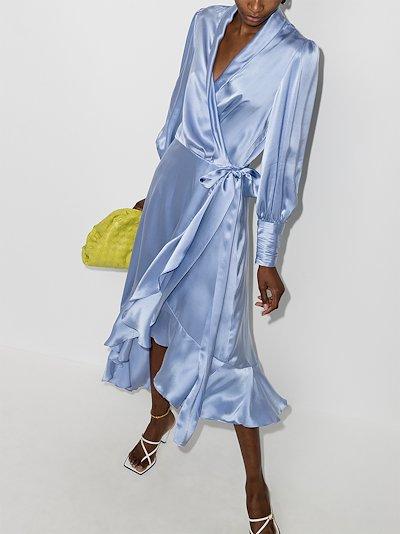 asymmetric silk wrap midi dress