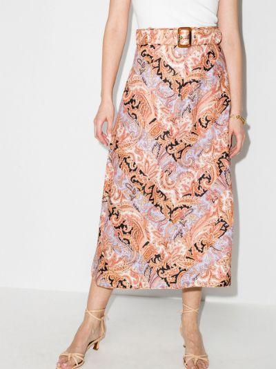Botanica paisley print midi skirt
