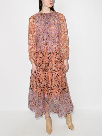 Botanica tiered paisley silk dress