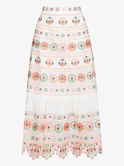 Brighton embroidered midi skirt