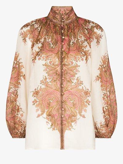 Brighton paisley print ramie blouse